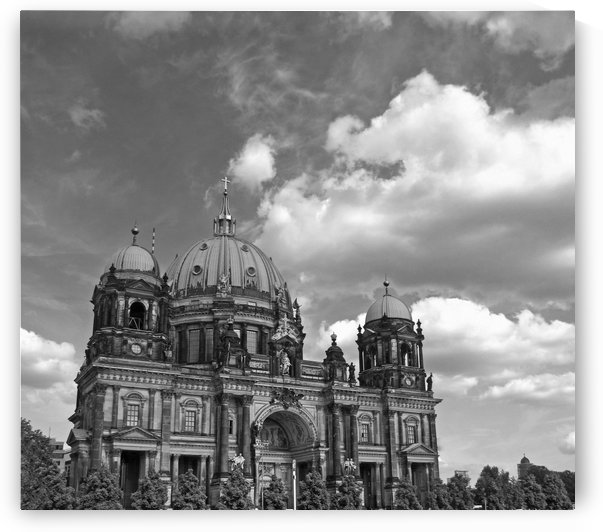 Berlin Cathedral and Blue Skies B&W by Gods Eye Candy