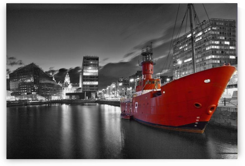 LIV 003 Liverpool Dock (B&W + red boat) by Michael Walsh