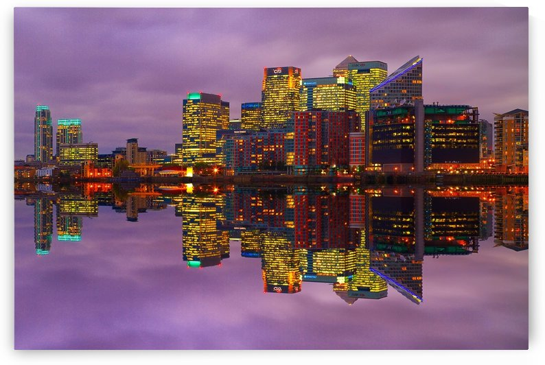 LON 008 Canary Wharf Reflection  by Michael Walsh