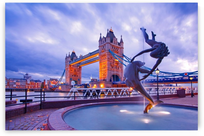 LON 014 Girl with  Dolphin and Tower Bridge by Michael Walsh