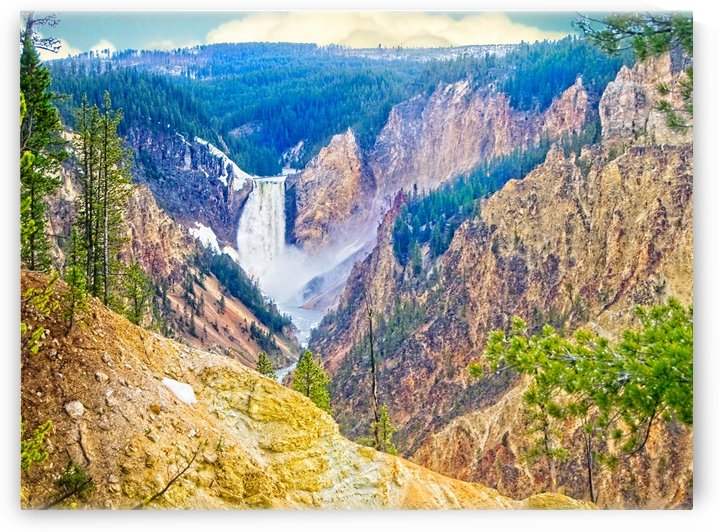 Yellowstone Falls Digital Painting Landscape 52 70 200px by Gene Norris