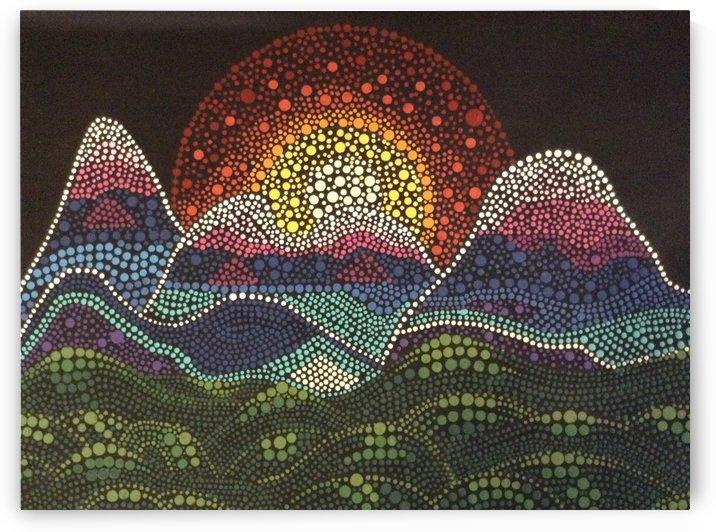 Dotted Sunset Magic by Mandala Dot Artist
