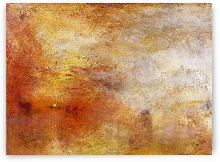 Sun setting over a lake by Joseph Mallord Turner by Joseph Mallord Turner