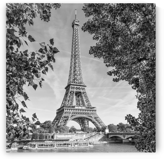 PARIS Eiffel Tower & River Seine | Monochrome by Melanie Viola