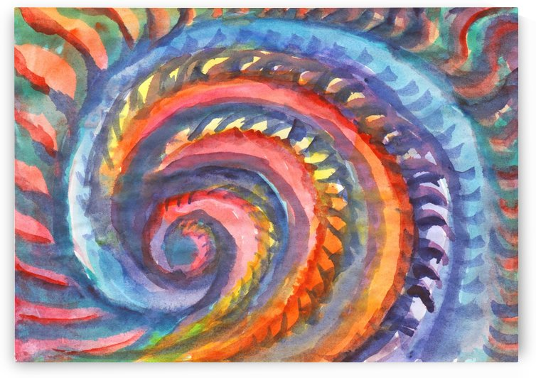 Watercolor abstract spiral staircase by Dobrotsvet Art