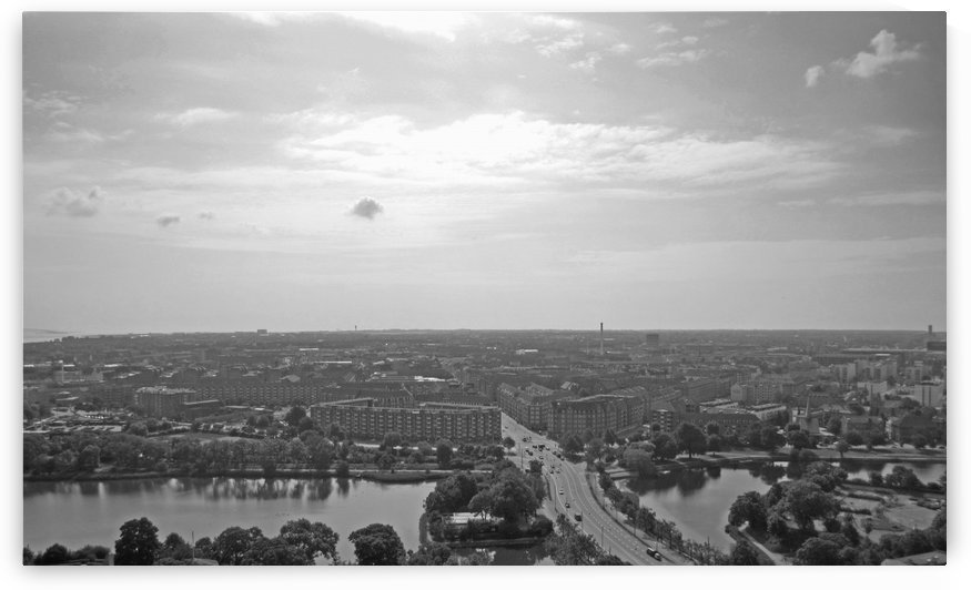 Aerial View of Copenhagen Denmark B&W by Gods Eye Candy