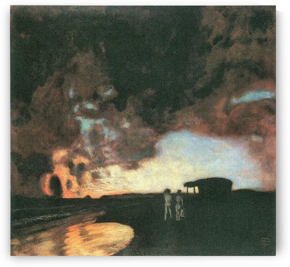 Sunset at the sea by Franz von Stuck by Franz von Stuck