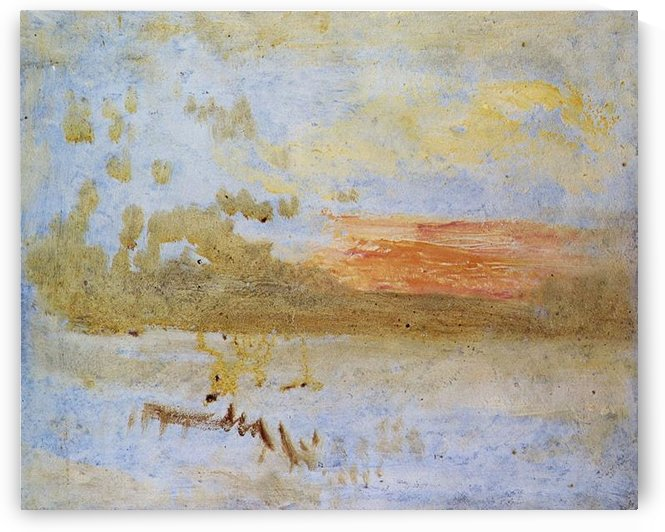 Sunset seen from a beach with breakwater by Joseph Mallord Turner by Joseph Mallord Turner