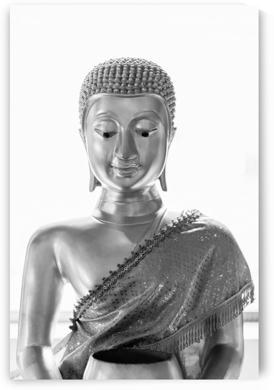 Black and white Buddha statue by Krit of Studio OMG