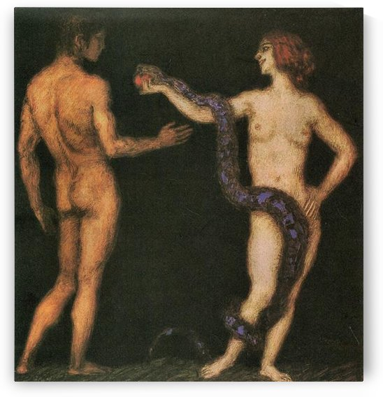 Temptation -1- by Franz von Stuck by Franz von Stuck
