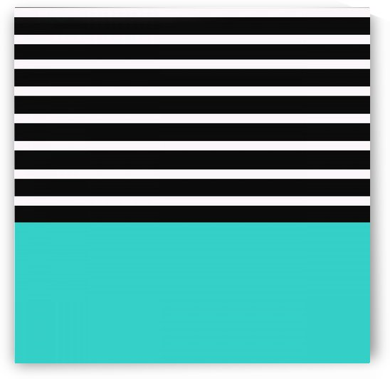 Black & White Stripes with Blue Patch by rizu_designs