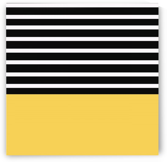 Black & White Stripes with Yellow Patch by rizu_designs