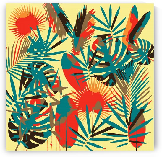 Colorful Abstract Tropical Leaves  by Gabriella David