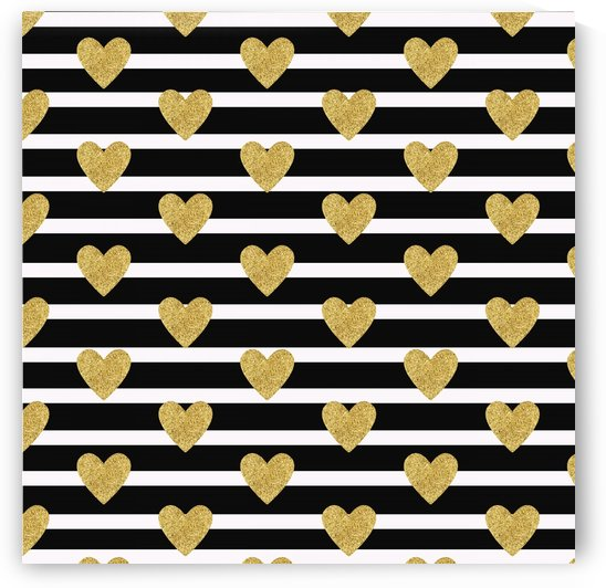 Black Stripes with Golden Hearts by rizu_designs