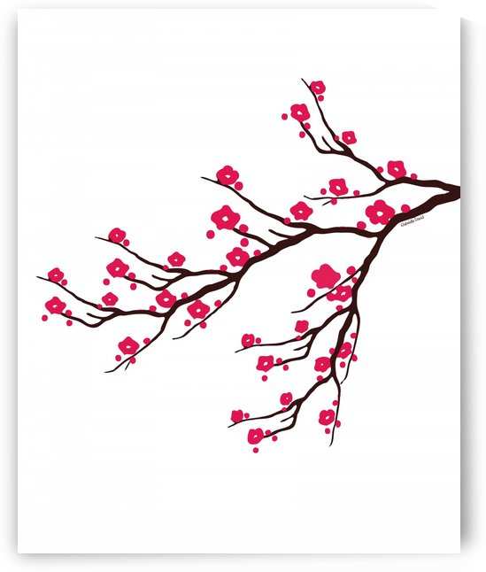 Simple Branches with Pink Blossoms  by Gabriella David