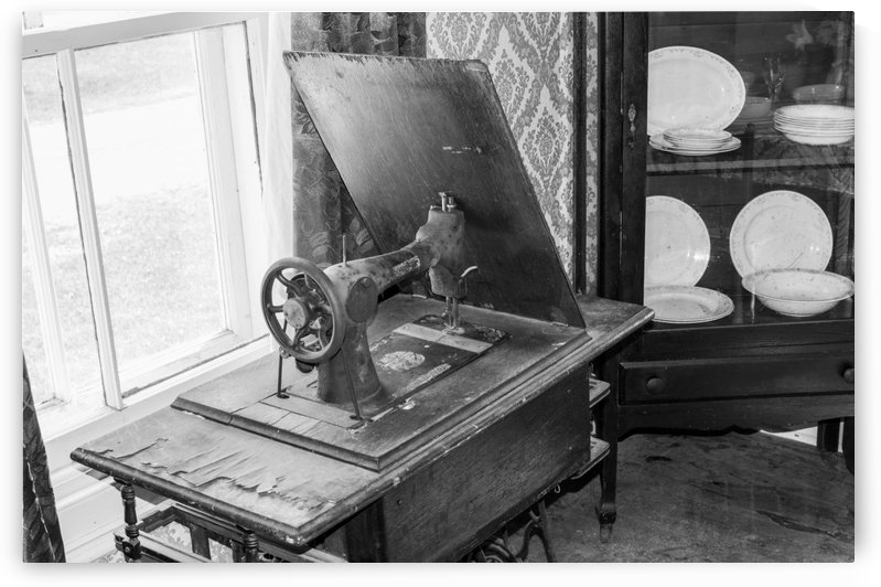 Antique petal operated Sewing Machine bw by Bob Corson