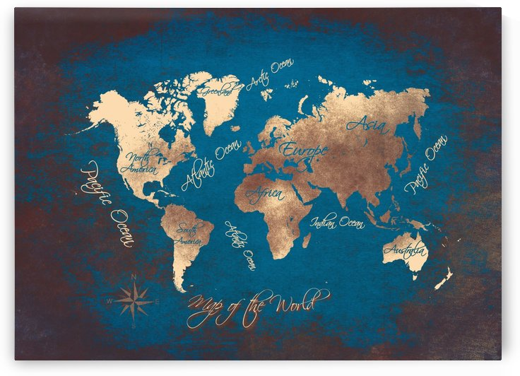 world map text blue gold by Justyna Jaszke