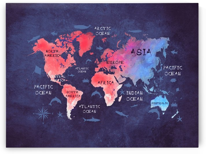 world map blue red by Justyna Jaszke