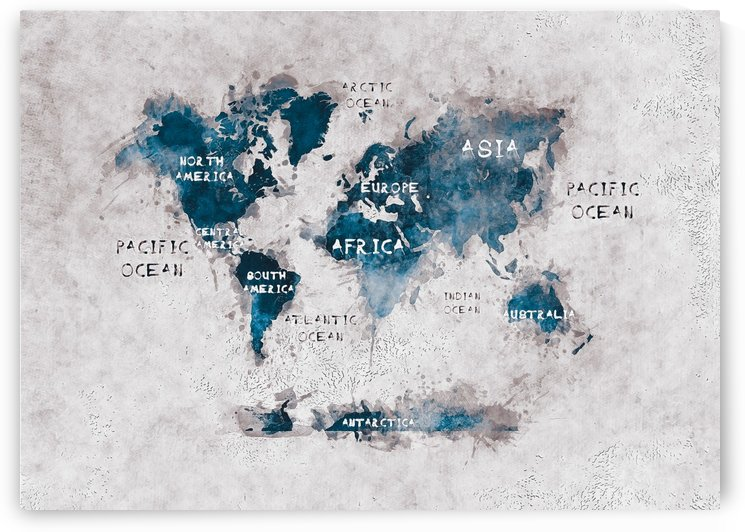 world map oceans and continents white blue  by Justyna Jaszke