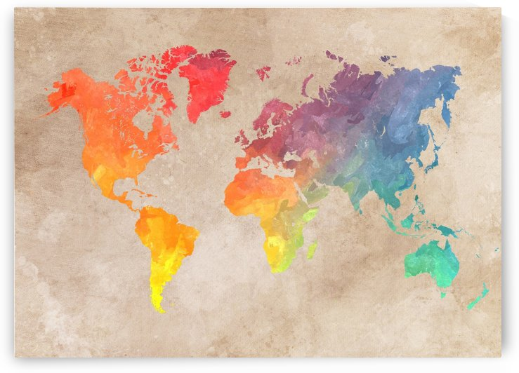 world map colors art by Justyna Jaszke