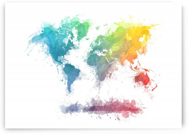 world map splash  colors by Justyna Jaszke