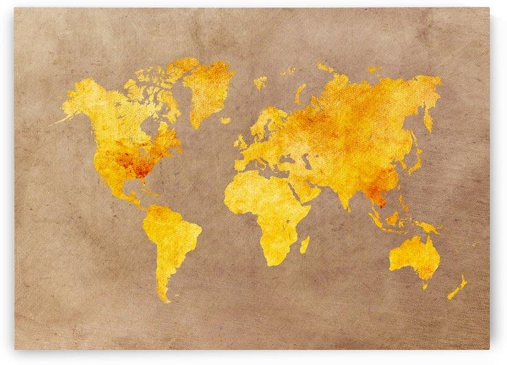 world map orange by Justyna Jaszke