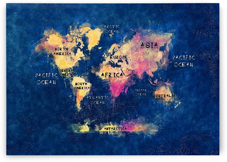 world map oceans and continents blue yellow by Justyna Jaszke