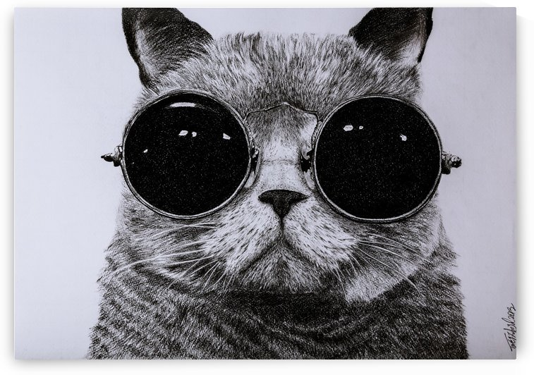 The Cat with glasses by Tpencilartist