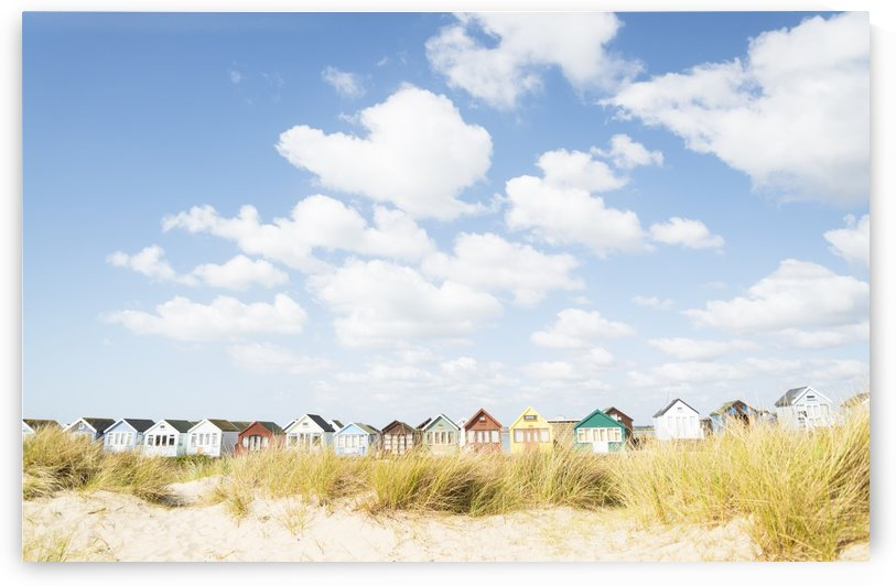 BEACH HUTS AND CLOUDS by ANDREW LEVER GALLERY