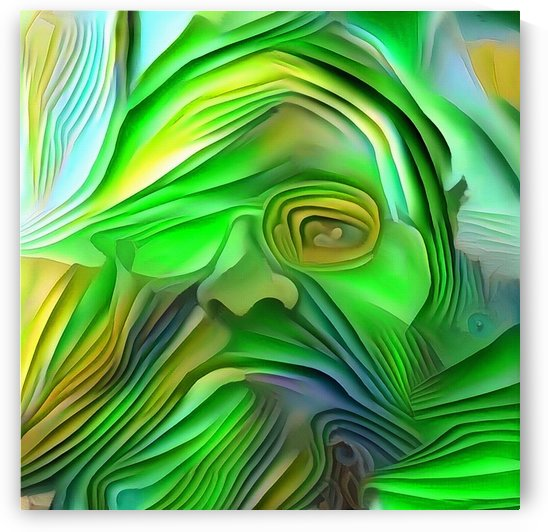 Man Portrait in green color by Bruce Rolff