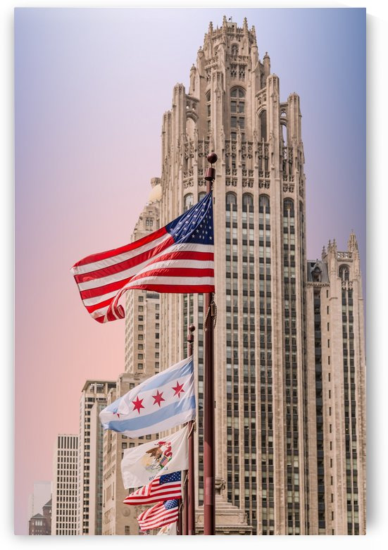 American Flags by Chicago Tower at Dusk by Darryl Brooks