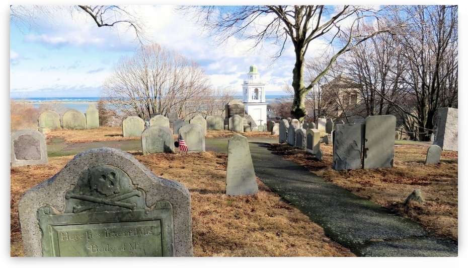 Winter on Burial Hill Plymouth MA by Photography by Janice Drew