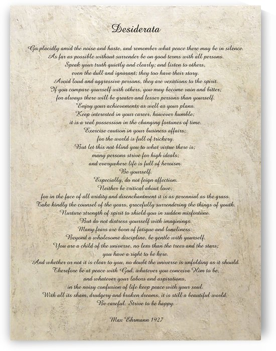 Desiderata Poem By Max Ehrmann Nr. 1001 by Edit Voros
