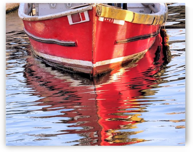 Red skiff reflections by Photography by Janice Drew