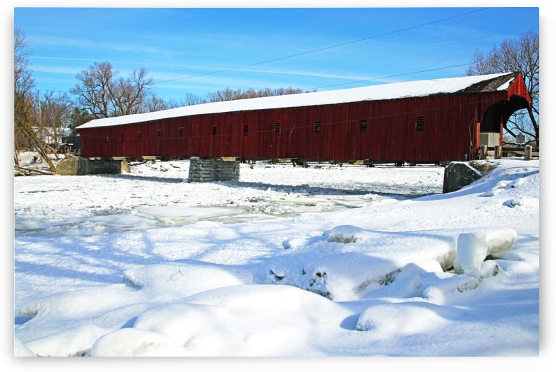 West Montrose Covered Bridge Winter by Deb Oppermann