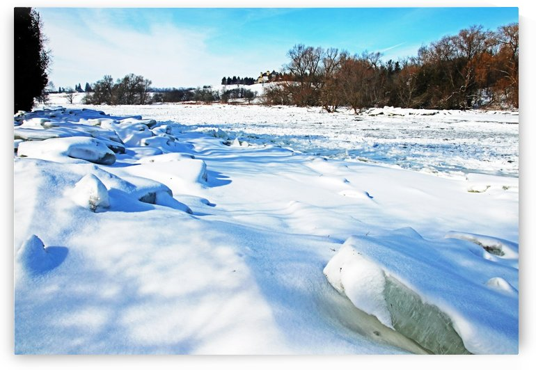Frazil Ice On The Grand River West Montrose by Deb Oppermann