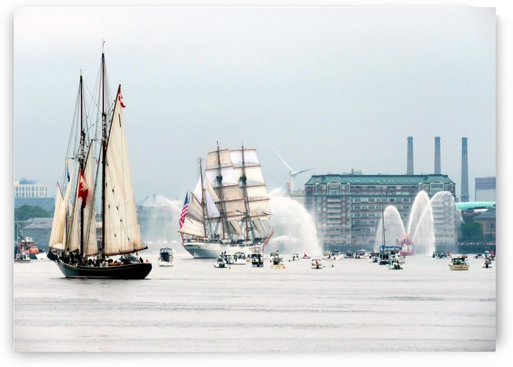 Bluenose II following Eagle by Photography by Janice Drew