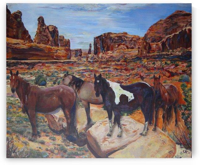 Wild horses in Moab Utah by Chris Rutledge