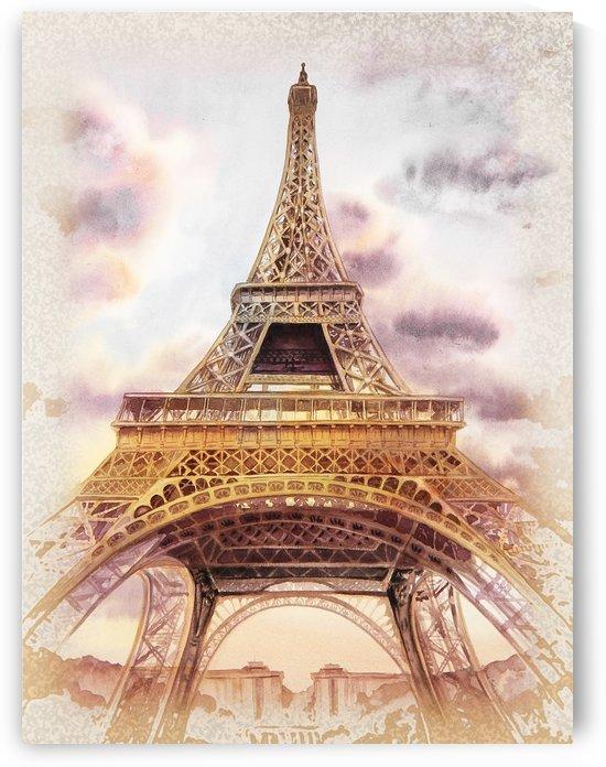 Vintage Paris Eiffel Tower Watercolor Painting by Irina Sztukowski