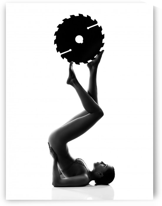 Nude woman with saw blade 2 by Johan Swanepoel