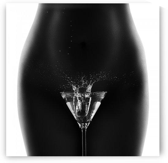 Nude woman with martini splash by Johan Swanepoel