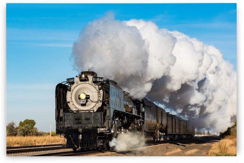 Union Pacific Engine 844 Generating Ground Fog by Garald Horst