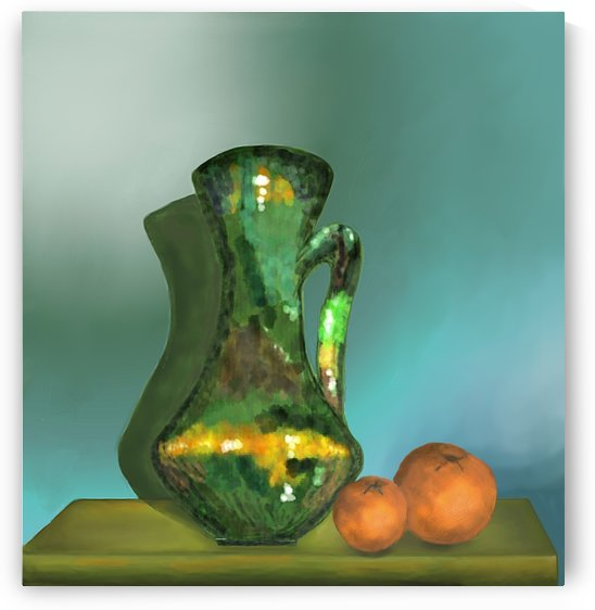 GREEN VASE and ORANGES by ANA BORRAS