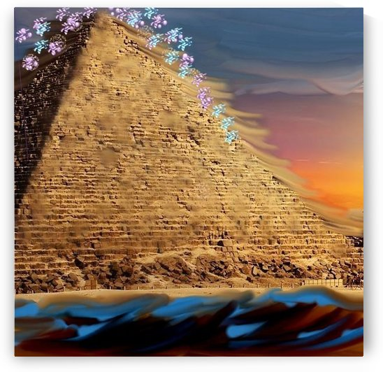 Giza Pyramid on The Beach by Sara Wilson