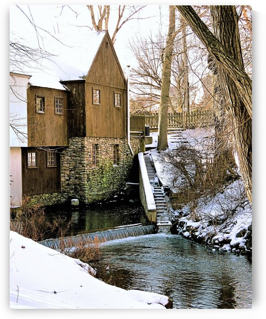 Plimoth Grist Mill in winter by Photography by Janice Drew