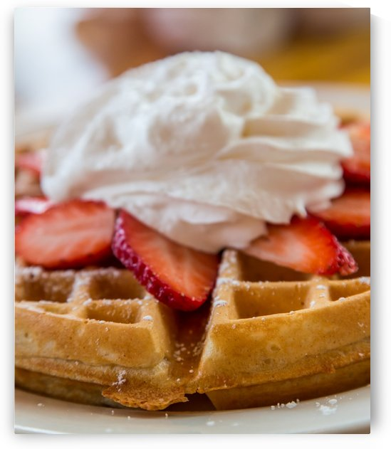 Waffle Topped with Strawberries and Whipped Cream by Darryl Brooks