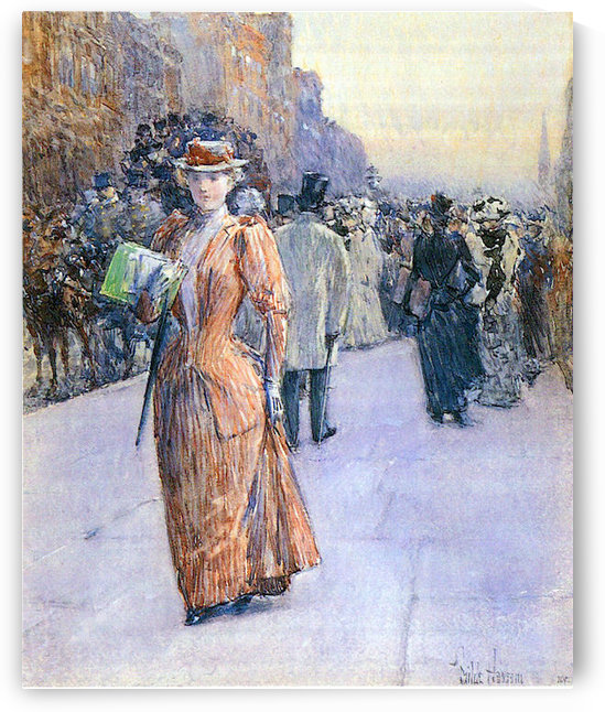 New York street scene by Hassam by Hassam