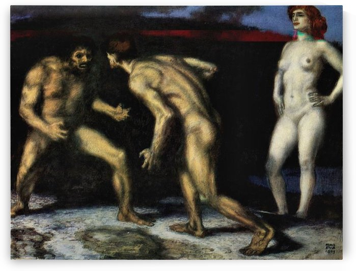 The struggle for women -1- by Franz von Stuck by Franz von Stuck