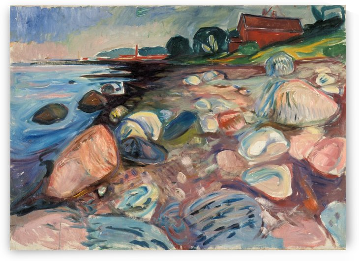 Shore with Red House by Edvard Munch