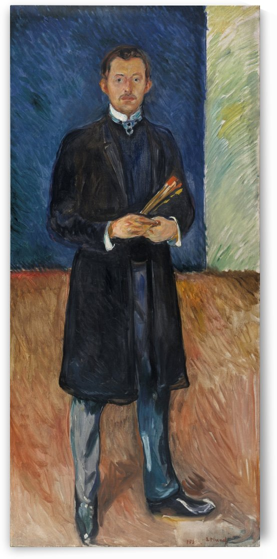 Self-Portrait with Brushes by Edvard Munch